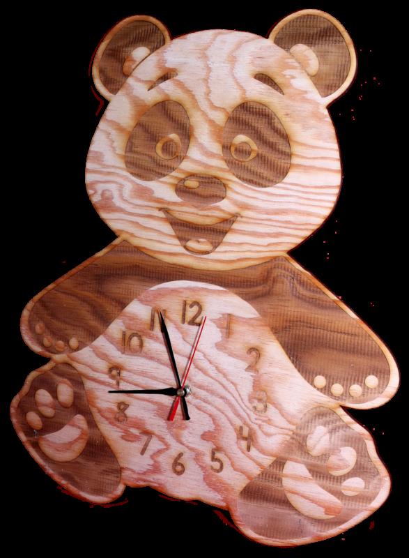 Lasercut24 - Pandabären Kinderuhr mit Gravur